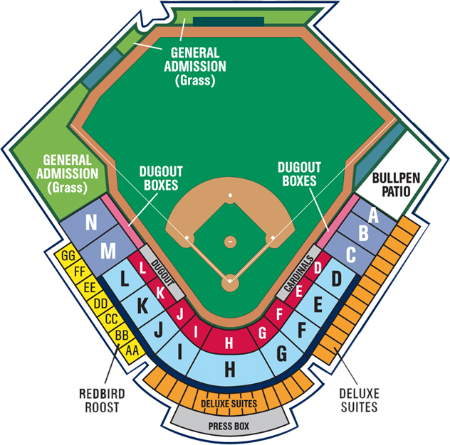 Seating Chart | Springfield Cardinals Hammons Field